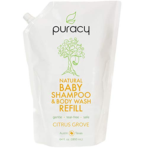 - Puracy Natural Baby Shampoo & Body Wash Refill, Tear-Free Hypoallergenic Bath Soap, 64 Ounce