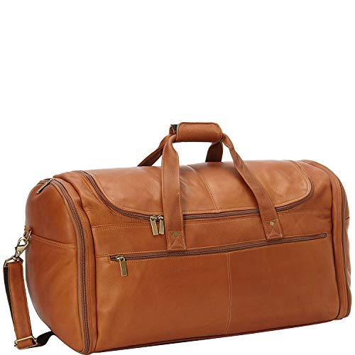David King & Co. Extra Large Multi Pocket Duffel, Tan, One Size (For Men Leather Weekend Bags)