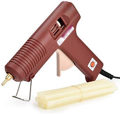 Minmin ホットメルトグルーガン10/30グルースティック100W工業用グレード電気ホットメルトグルーガン急速加熱技術、DIYアートクラフト装飾、ホームファストリペア、木工、ホリデーデコレーション(ブラウン) ミニ (Color : 10 glue sticks)