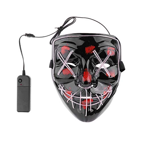 iEFiEL Adults EL Wire Glow LED Light up Mask Scary Accessory Halloween Cosplay Festival Parties (Steady/Slow/Fast Flash) Black One Size