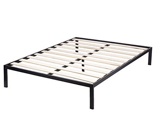 Bed Frame Metal Platform Bed Frame Queen Size Steel Wood Slat Bed Black Mattress Foundation, Heavy Duty by BestMassage