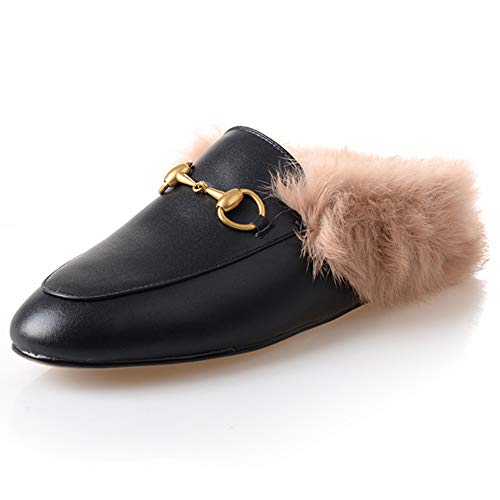 (GEEDIAR Leather Mules Women Shoes Fur Mules and Slides Backless Loafer Slip-on Slippers with Embroidery and Buckle Black Size)