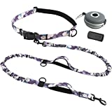 PETDOM Hands Free Dog Leash Camo - 6 ft Dual Bungee Leash for Large Dogs Up to 200 lb - Adjustable Waist Belt, Padded Handle - for Running, Walking, Jogging (Purple Camo)