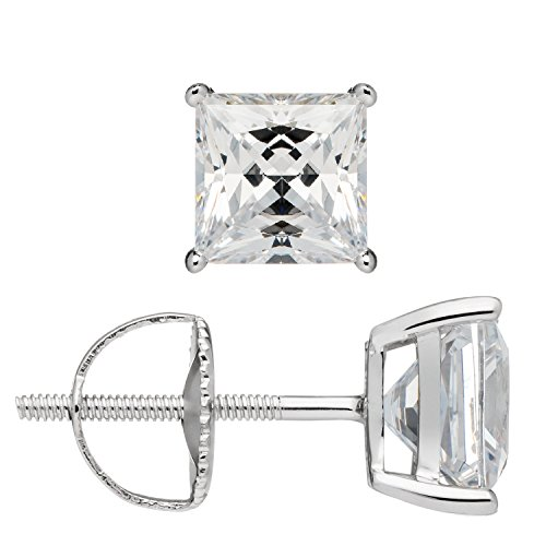 Everyday Elegance | 14K Solid White Gold Earrings | Princess Cut Cubic Zirconia Stud | Screw Back Posts | 3.0 ctw | Gift Box by Everyday Elegance Jewelry