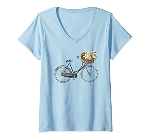 Basket T-shirt - Womens Vintage Retro Sketch Drawing Bike Bicycle Flower Basket  V-Neck T-Shirt
