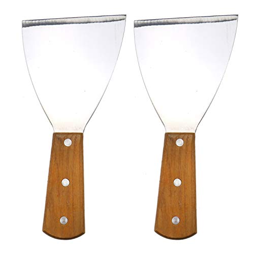 (JETEHO 2 Size Stainless Steel Blade Grill Slant Edge Scraper Wooden Handle for Food Service Cleaning Supplies Barbecue Cooking Restaurants)