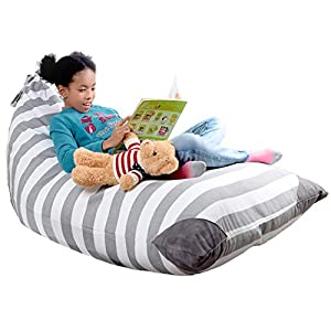 Mylola KIDS Stuffed Animal Bean Bag Storage Chair Extra Large Premium Cotton Canvas Cover | Toy Organizer That Makes Comfy Lounger Seat| (200L)