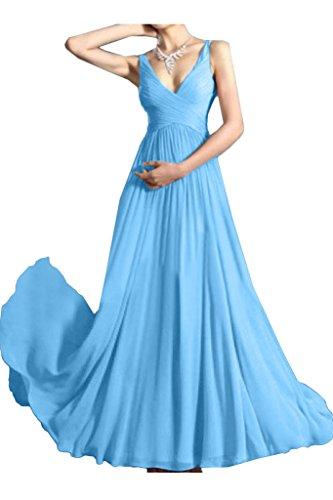 Partykleid Ivydressing Promkleid Traeger V Einfach Abendkleid Linie Himmelblau Damen Festkleid Ausschnitt A Bqg7AB0