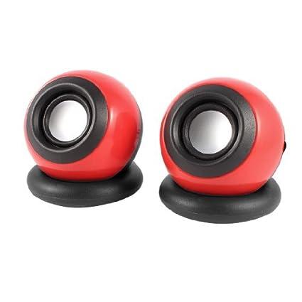 eDealMax Par bola de plástico Rojo Negro Forma USB 2.0 DE 3,5 mm estéreo