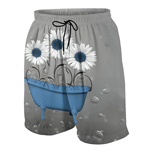 Paulino Youth Quick Dry Blue Gray Sunflower Bubbles Printed Swim Trunks Casual Mesh Lining Beach Board Shorts