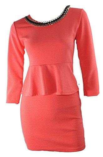 # 1131vestido de mujer fiesta vestido manga larga schösschen desmontable Cadena Rojo Marrón Coral 3638Onesize Koralle