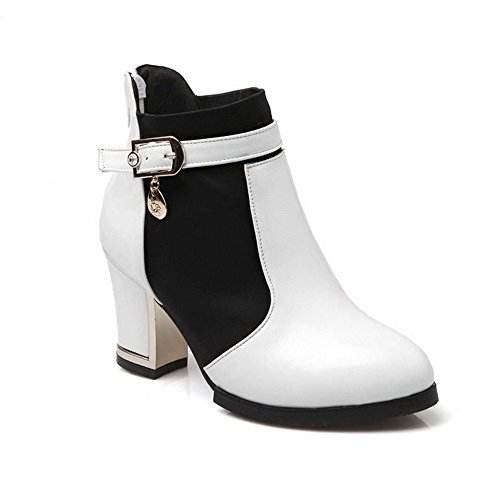 AgooLar Women's Round Closed Toe High Heels Soft Material Solid Zipper Boots White