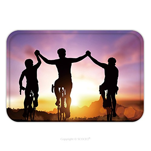 Flannel Microfiber Non-slip Rubber Backing Soft Absorbent Doormat Mat Rug Carpet Silhouette Bicycle On Sunset And Friendship In Bicycle Sport And Triathlon Sport 289140455 for - Triathlon Costume
