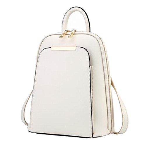 Travel PU Womens Bag Fashion YAANCUN Leather Bag Beige Backpack Shoulder Rucksack xpSx18q6