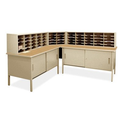 Mailroom 60 Adjustable Slot Literature Organizer with Cabinet by Marvel