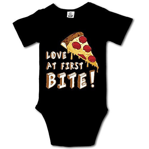 Msiiks Pizza Love at First Bite Baby Boys Girls Cotton Comfortable Cutie Short Sleeve (Party City Costumes For Girls Age 11)