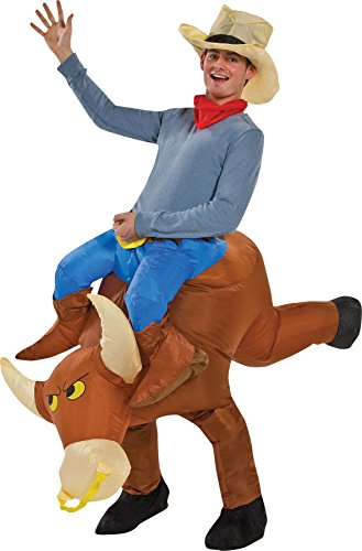 Inflatable Bull Rider Halloween Costume (UHC Unisex Inflatables Bull Rider Cowboy Bull Comical Adult Halloween Costume, OS)