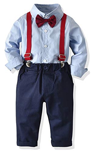Toddler Dress Suit Baby Boys Clothes Sets Bowtie Shirts + Suspenders Pants 3pcs Gentleman Outfits Suits 6Month - 6Years (Blue003, 5T) (Boys For Christmas Outfits)