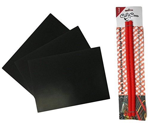 king Bundle: includes Baking Mats (Set of 3) and Oven Rack Protectors (Set of 2) (Three Oven Racks)