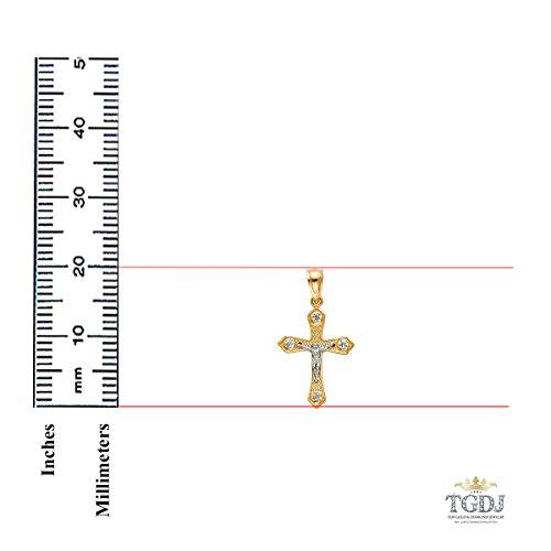Height 20 MM Width 13 MM 14k Yellow White Gold Jesus Crucifix Cross Religious Pendant