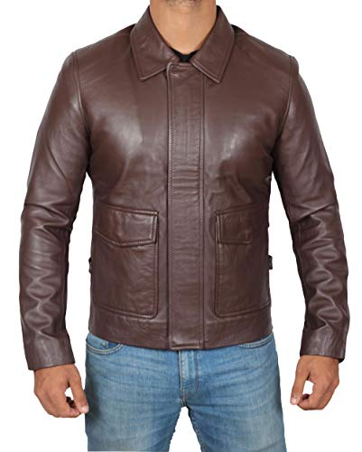 Brown Leather Jacket Men - Slim Fit Genuine Vintage Jacket Leather for Men | 3XL