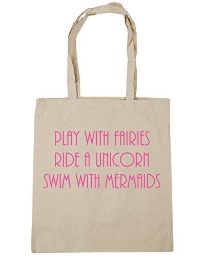 10 Beach Bag 42cm Tote x38cm with Gym HippoWarehouse Swim with Shopping Ride Play a Unicorn Natural Fairies litres Mermaids OSwa7qx6