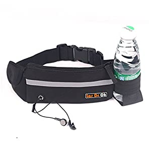 Lar DrOk Running Belt,Adjustbale Fitness Belt with Water bottle, Waterproof Reflective Zipper Waist Pack for Runners, Race, Marathon, Hiking - Men and Women