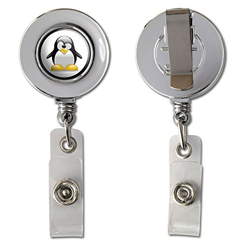 Penguin - Snow Bird Retractable Reel Chrome Badge ID Card Holder Clip