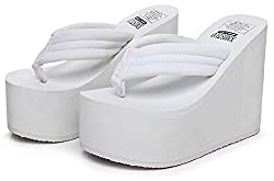 Qzunique Women S High Heel Platform Wedge Flip Flops Sandals Fashion Slipper Summer Thong White Us 7 5 8