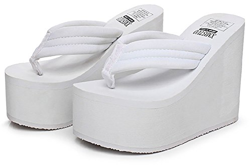 White High Wedge - QZUnique Women's High Heel Platform Wedge Flip-Flops Sandals Fashion Slipper Summer Thong White US 7.5-8