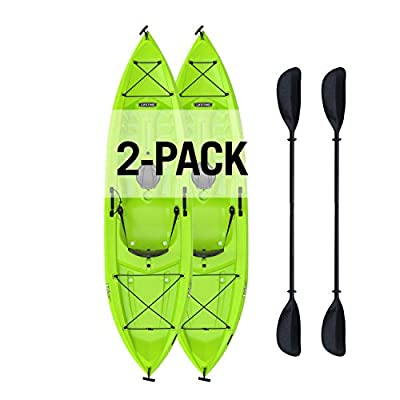 Lifetime Tioga Sit-On-Top Kayak with Paddle (2 Pack), Lime, 120""