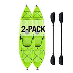 "Lifetime tioga 120  kayak - the 120"" adult kayak has a 275 lb. Weight capacity and comes in Lime green. This 90643 is a ""sit-on-top"" (sot) kayak and comes with a seat back, front and rear shock cords, one 6"" storage hatch in the rear, a paddl..."