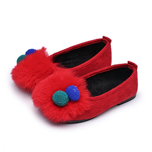 Price comparison product image Baqijian Autumn Winter Children Shoes Colorful Ball Princess Girls Flats Red Black Grey Kids Sneakers Size 21-36