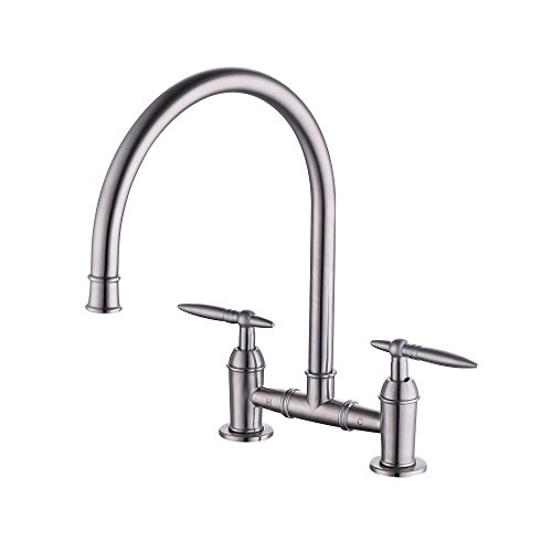 KES Two-Handle Bridge Kitchen Faucet SUS304 Stainless Steel, Brushed Finished, L6258-2 (Bridge Kitchen Faucet)