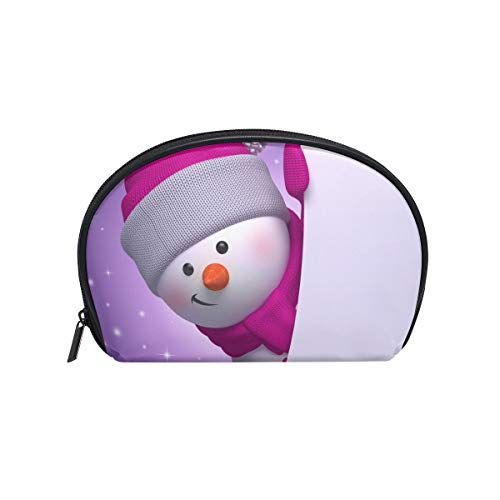Senya Travel Cosmetic Bag Small Makeup Portable Carry Case Pouch Girls Women Personalized Organizer Tote Bag For Jewelry Toiletries Snowman Holding Christmas Banner