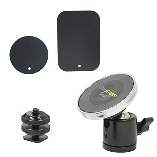 Livestream Gear - Universal Magnetic Phone Mount, Mini Ball Head with Lock and Hot Shoe Adapter for use with DLSR Camera or Tripod. Easily Attach a Phone via Magnetic Mount and Metallic Plates.