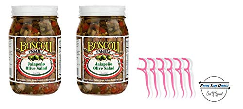 (Boscoli Jalapeno Olive Salad 16oz (2 pack) with 20ct Dental Flossers in a Prime Time Direct Sealed Bag)