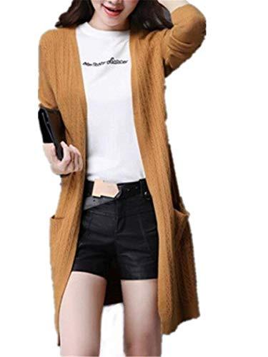 Forcella Coat Primaverile Giacca Relaxed Gelb Moda Giubotto Maglia Outwear Ragazza Chic Lunghe Elegante Squisito A Aperto Tasche Colore Casual Pullover Puro Maniche Donne Autunno Con CnRpqzxC