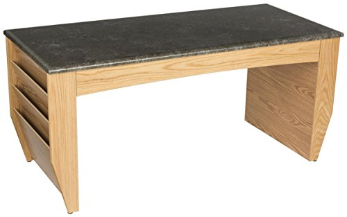 Wooden Mallet DM2-BG Coffee Table with Magazine Pockets and Black Granite Look Top, Light Oak - Black Granite Coffee Table