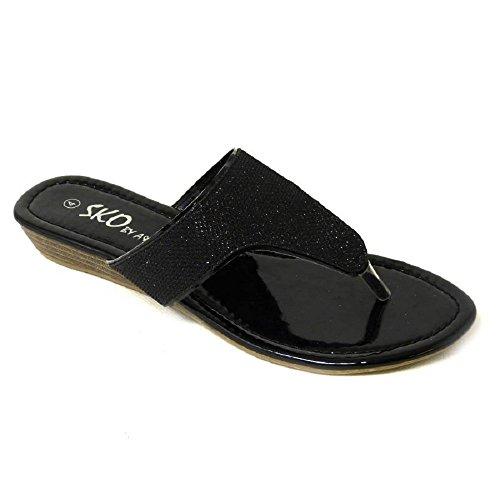 SKO'S - Sandalias de Vestir de Material Sintético para Mujer Black (99) ej1qdk4igU