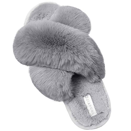JIASUQI Cross Open Toe Fuzzy Fluffy House Slippers for Women Cozy Memory Foam Plush Criss Cross Furry Slides Slippers