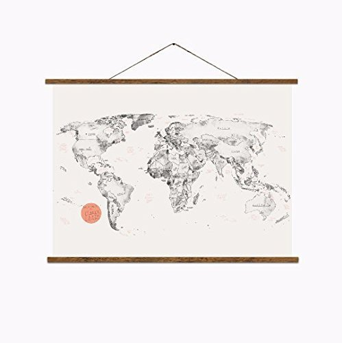 Amazon.com: Large hand drawn and printed World Map: Handmade