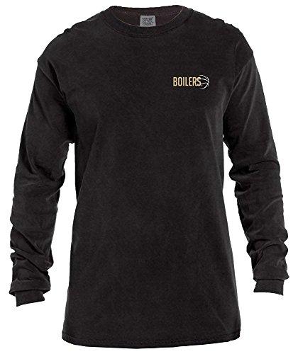 NCAA Purdue Boilermakers Basketball Outline Long Sleeve Comfort Color Tee, Large,Black -