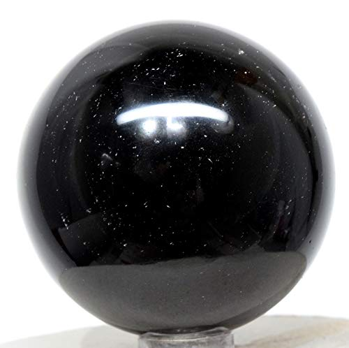 (52mm 180g Rainbow Black Obsidian Sphere Polished Natural Sparkling Gemstone Crystal Mineral Décor Ball - Mexico + Stand )