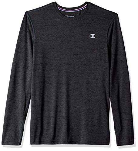 (Champion Men's Double Dry Mesh Heather Long Sleeve T-Shirt, Vetiver Grey Heather, Large)