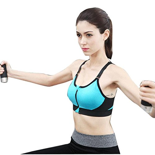 Clearance Sale! Women Shirts WEUIE Sports Bra Zipper Front Padded Push Up Shockproof Tops Gym Fitness Running (S, Blue)