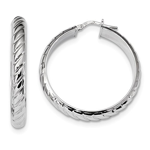 (925 Sterling Silver 5mm Textured Hoops Hoop Fine Jewelry Gifts For Women For Her)