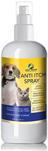 Andy Anand's Anti Itch Coconut Oil, Neem oil, Turmeric Spray for Dogs and Cats | 100% All Natural Hypoallergenic Soothing Relief for Dry,Itchy,Bitten or Allergic Damaged Skin (One 12 fl. oz. Bottle)