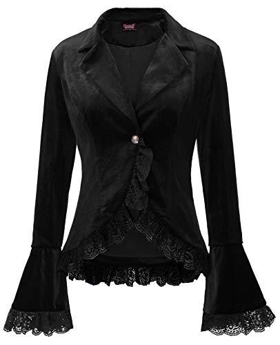 Lace Blazer Jacket - SCARLET DARKNESS Women Victorian Coat Gothic Long Sleeve Lapel Collar Lace Trim Velvet Coat