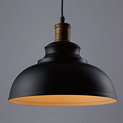 """BAYCHEER HL371891 Industrial Retro style Iron 11.8""""Wide Antique Rust Loft Fixture Pendant Lights Lamps with 1 Light, Black"""